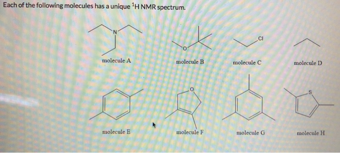 Solved: Each Of The Following Molecules Has A Unique H NMR
