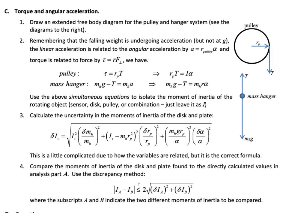 C  Torque And Angular Acceleration  1  Draw An Ext