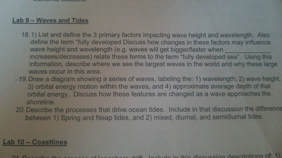 Solved: Lab 9-Waves And Tides 18.1) List And Define The 3 ...
