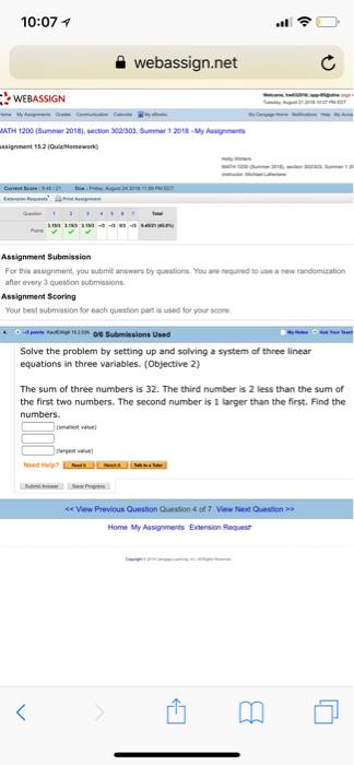 Solved: 10:07  וי A Webassign net WEBASSIGN ATH 1200 (Summ