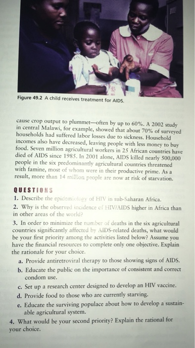 Figure 49.2 A child receives treatment for AIDS cause crop output to plummet-often by up to 60%. A 2002 study in central Mala