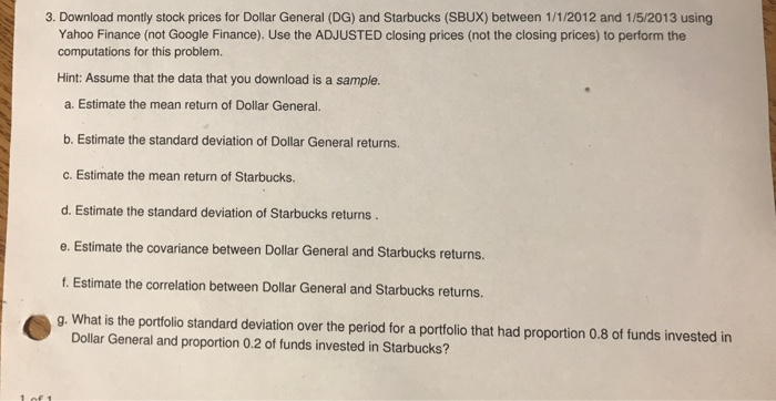Solved: Download Monthly Stock Prices For Dollar General