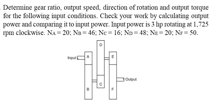 Solved Determine Gear Ratio Output Speed Direction Of R