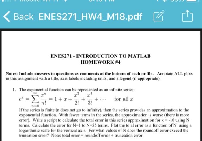 Solved: ?Back ENES271-HW4 M18 pdf? ? ENES271 INTRODUCTION