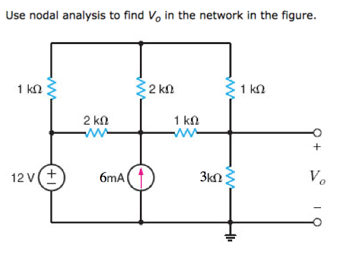 Use nodal analysis to find Vo in the network in the figure. 12 Vt 6mA