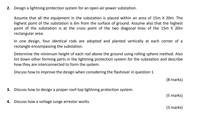 2  Design A Lightning Protection System For An Ope      Chegg com