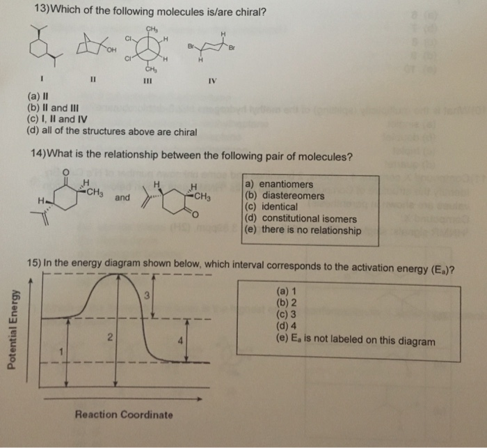 Solved: 13)Which Of The Following Molecules Is/are Chiral