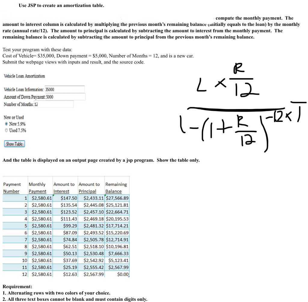 Use Jsp To Create An Amortization Table Compute Th