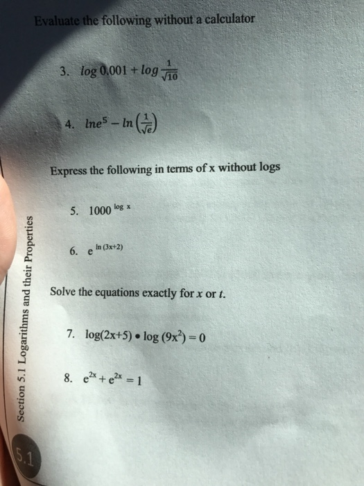 Solved: Evaluate The Following Without A Calculator Log 0 ...