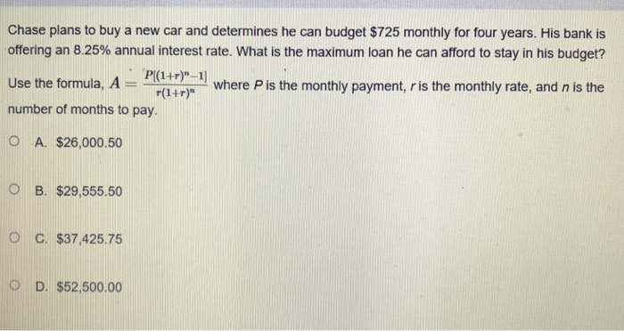 Solved: Calculate The Monthly Payment For A $14,790 Auto L