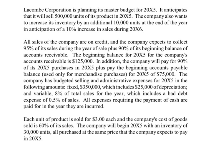Lacombe Corporation is planning its master budget for 20X5. It anticipates that it will sell 500,000 units of its product in 20X5. The company also wants to increase its inventory by an additional 10,000 units at the end of the year in anticipation of a 10% increase in sales during 2 All sales of the company are on credit, and the company expects to collect 95% of its sales during the year of sale plus 90% of its beginning balance of accounts receivable. The beginning balance for 20X5 for the companys accounts receivable is $125,000. In addition, the company will pay for 90% of its 20X5 purchases in 20X5 plus pay the beginning accounts payable balance (used only for merchandise purchases) for 20X5 of $75,000. The company has budgeted selling and administrative expenses for 20X5 in the following amounts: fixed, $350,000, which includes $25,000 of depreciation and variable, 8% of total sales for the year, which includes a bad debt expense of 0.5% of sales. All expenses requiring the payment of cash are paid for in the year they are incurred Each unit of product is sold for $3.00 each and the companys cost of goods sold is 60% of its sales. The company will begin 20X5 with an inventory of 30,000 units, all purchased at the same price that the company expects to pay in 20X5