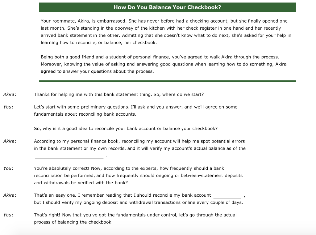 how do you balance your checkbook your roommate chegg com