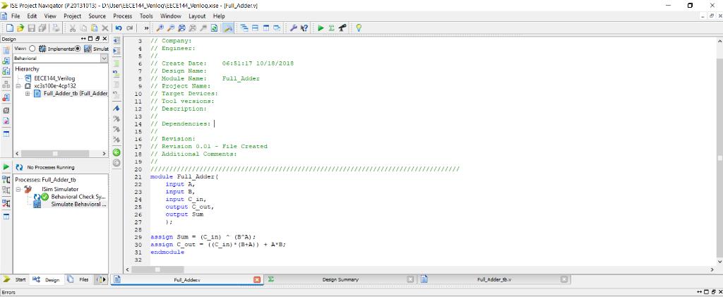 Solved: Create A 2-bit Full Adder Verilog Code So Far I've