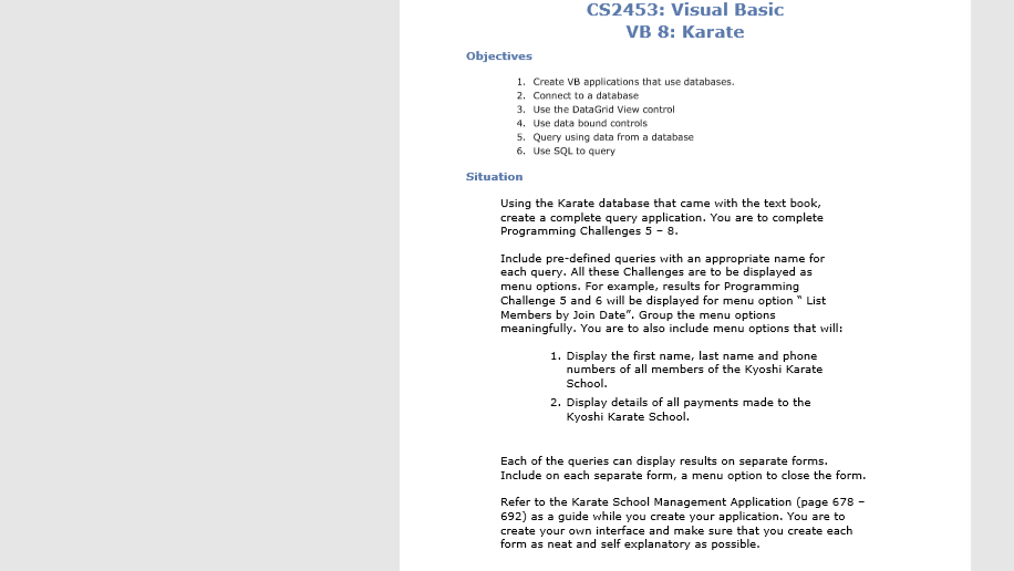 CS2453: Visual Basic VB 8: Karate Objectives 1  Cr    | Chegg com