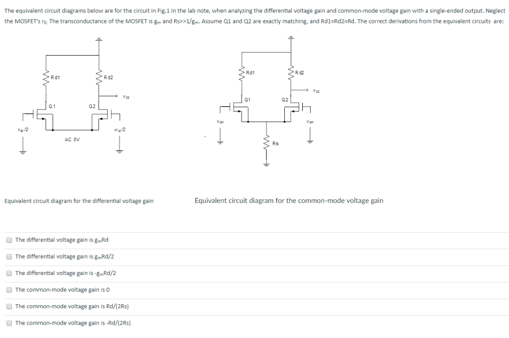 question: the equivalent circuit diagrams below are for the circuit in  fig 1 in the lab note, when analyzin