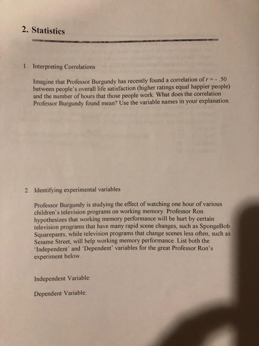 Solved: 2  Statistics 1  Interpreting Correlations Imagine