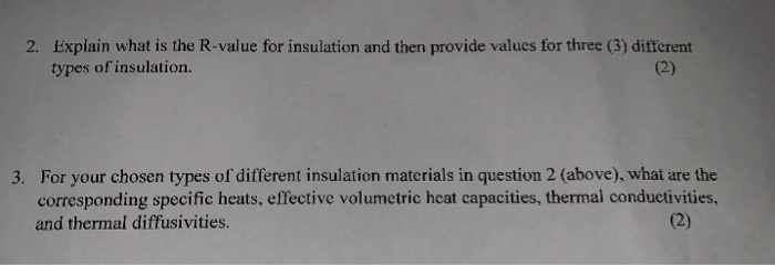Solved: Explain What Is The R-value For Insulation And The