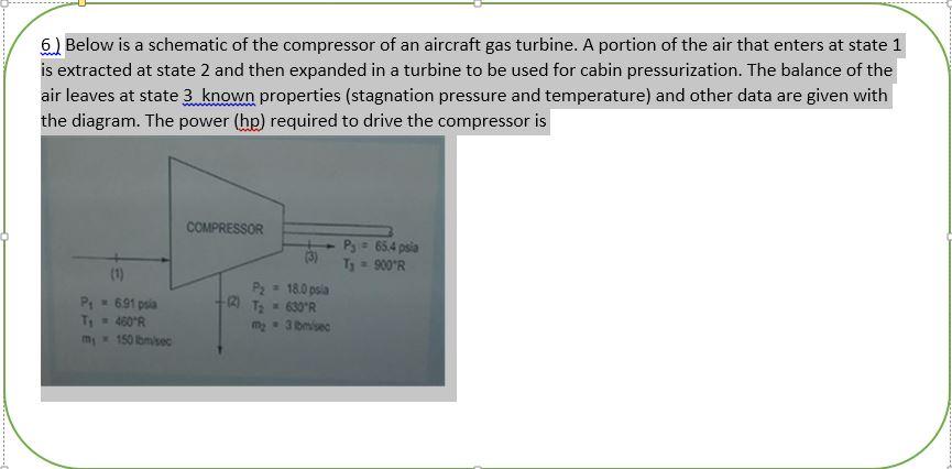 Solved A Compressor Of An Aircraft Gas Turbine A Portion