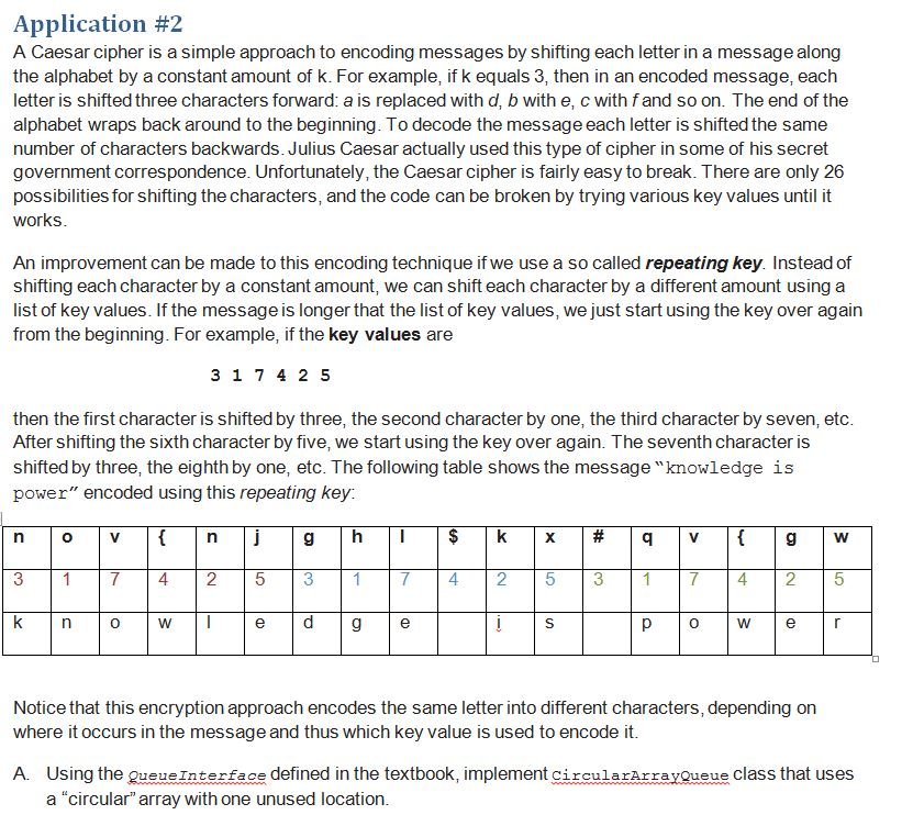 Solved: Caesar Cipher In Java ------ CicularArrayQueue jav