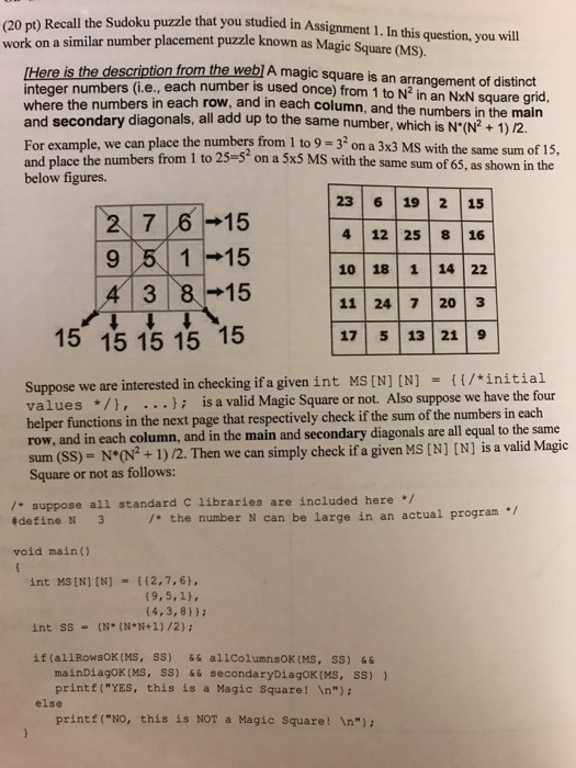 Solved: (20 Pt) Recall The Sudoku Puzzle That You Studied