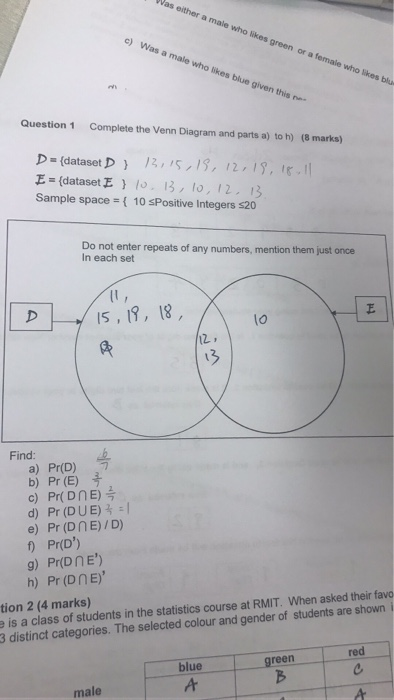 Solved Complete The Venn Diagram And Parts A To H D D