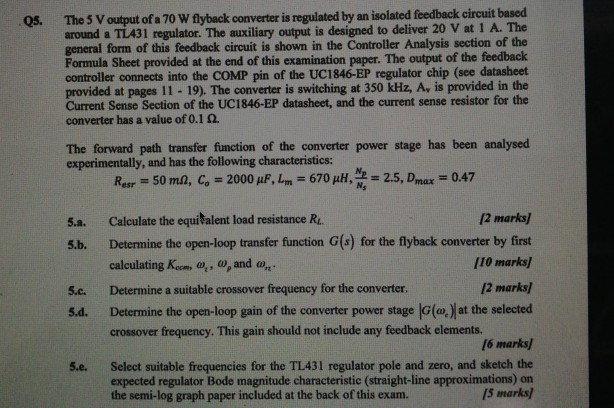 Output Of A 70 W Flyback Converter Is Regulated By    | Chegg com