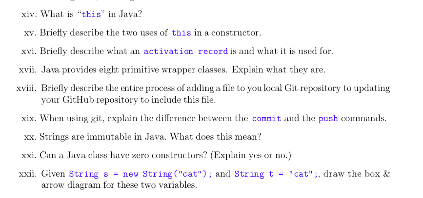 What Is This In Java Xv Briefly Describe The Two Uses Of A Constructor Xvi Brie