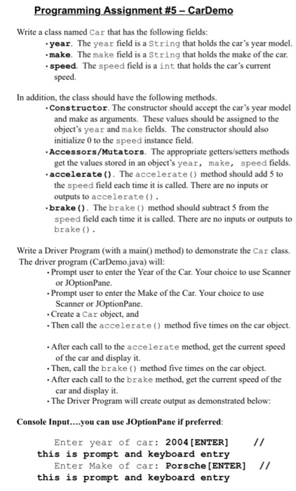 Solved: Programming Assignment 5-CarDemo Write A Class Nam