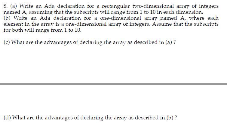 a write an ada declaration for a rectangular two dimensional array