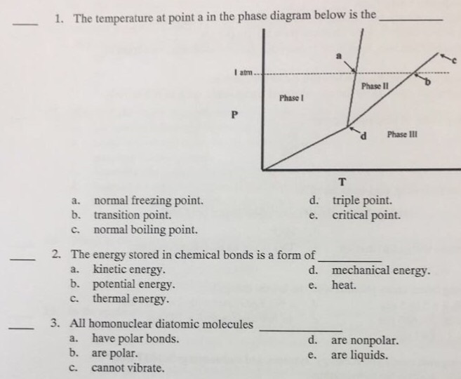 Solved  The Temperature At Point A In The Phase Diagram Be