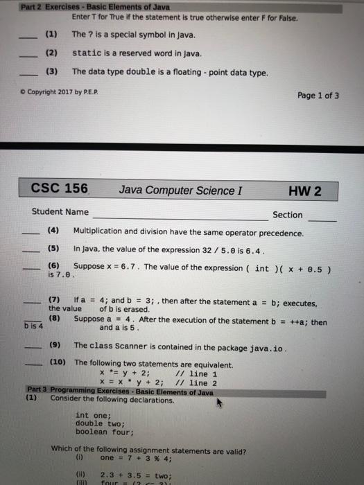 Solved Part 2 Exercises Basic Elements Of Java 1 2 3