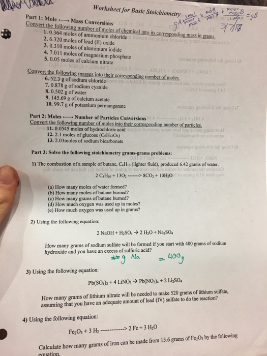 solved  worksheet for basic stoichiometry morar part 1  m