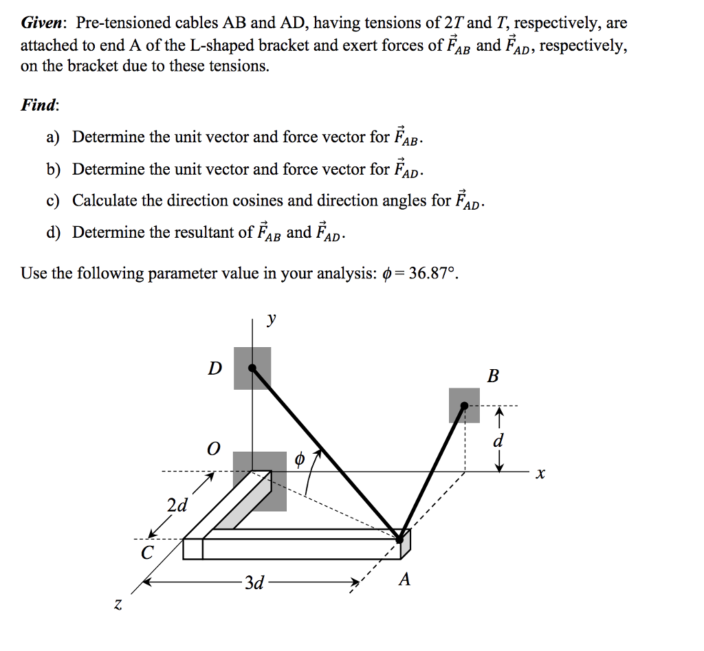 Given: Pre-tensioned cables AB and AD, having tensions of27 and T, respectively, are attached to end A of the L-shaped bracket and exert forces of FAR and Fan, respectively, on the bracket due to these tensions. Find: a) Determine the unit vector and force vector for FaB- b) Determine the unit vector and force vector for FAD c) Calculate the direction cosines and direction angles for FAD d) Determine the resultant of FaB and FaD- Use the following parameter value in your analysis: ф 36.870. 2d 3d 2