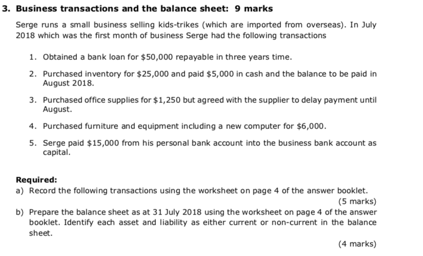Solved 3 business transactions and the balance sheet 9 3 business transactions and the balance sheet 9 marks serge runs a small business ibookread Download