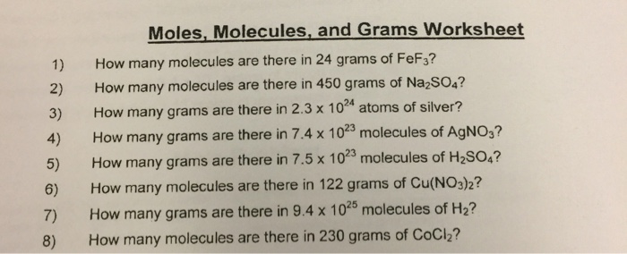 Solved: Moles, Molecules, And Grams Worksheet 1) How Many ...