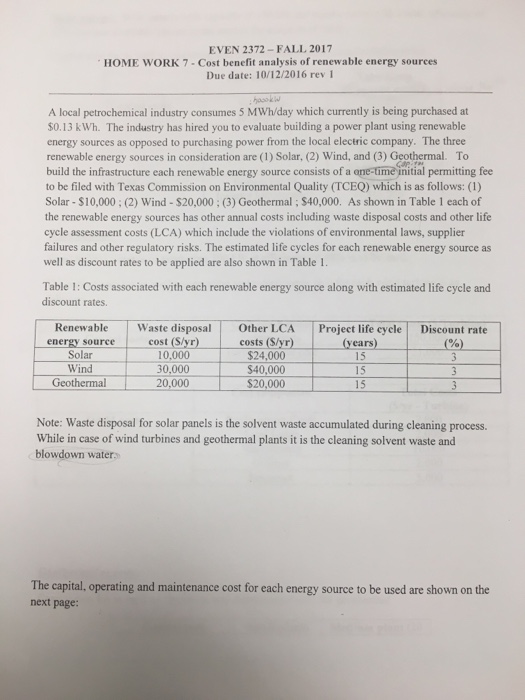 Solved: EVEN 2372 - FALL 2017 HOME WORK 7 -Cost Benefit An
