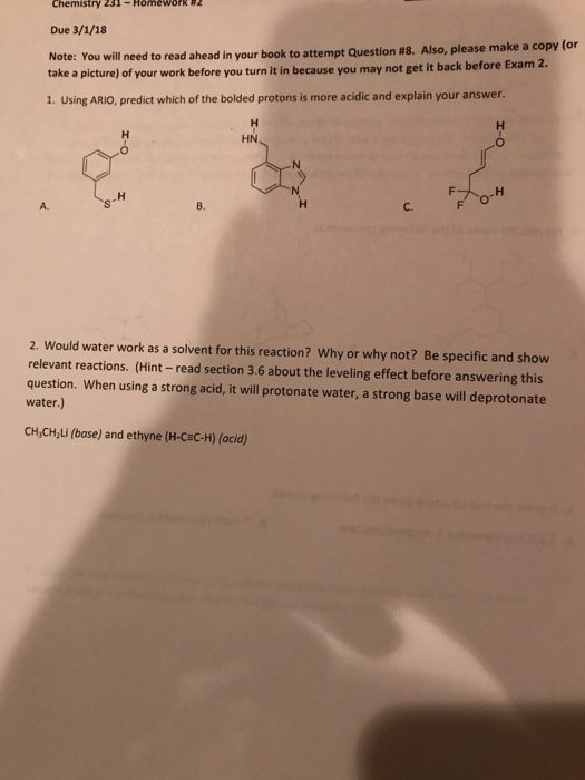 Solved: # 2 Chemistry 231-Homework Due 3/1/18 Note: You Wi