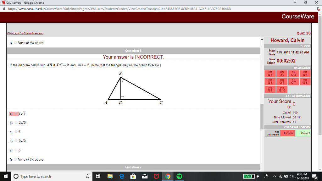 Solved: In The Diagram Below, Find AB If DC=2 And AC=6    | Chegg com