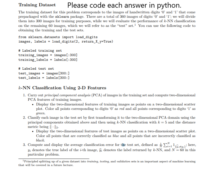 Training Datat Please Code Each Answer In Python T      Chegg com