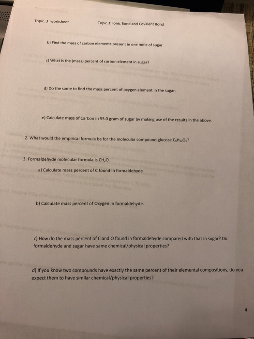 Solved Topic 3 Worksheet Topic 3 Lonic Bond And Covalen