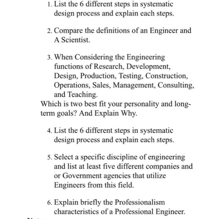Solved 1 List The 6 Different Steps In Systematic Design Chegg Com