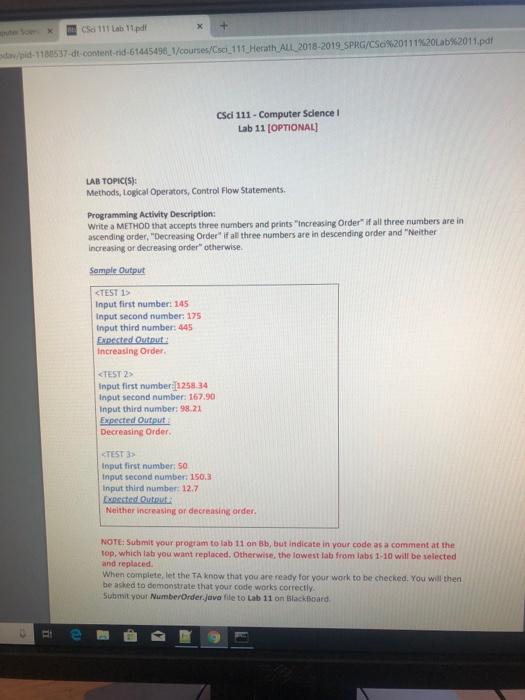 Solved: CSci 111 Lab 11 pdf Dav/pid-1 188537-dt-content-ri