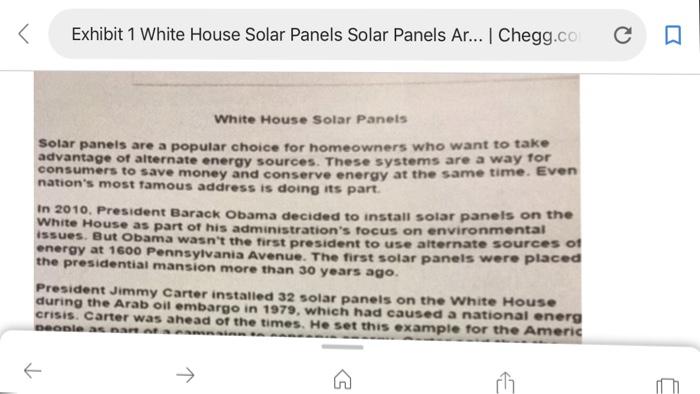 Solved: Exhibit 1 White House Solar Panels Solar Panels Ar