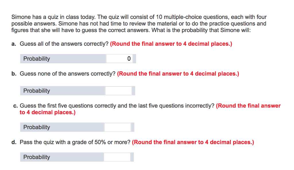 Solved: Simone Has A Quiz In Class Today. The Quiz Will Co ...