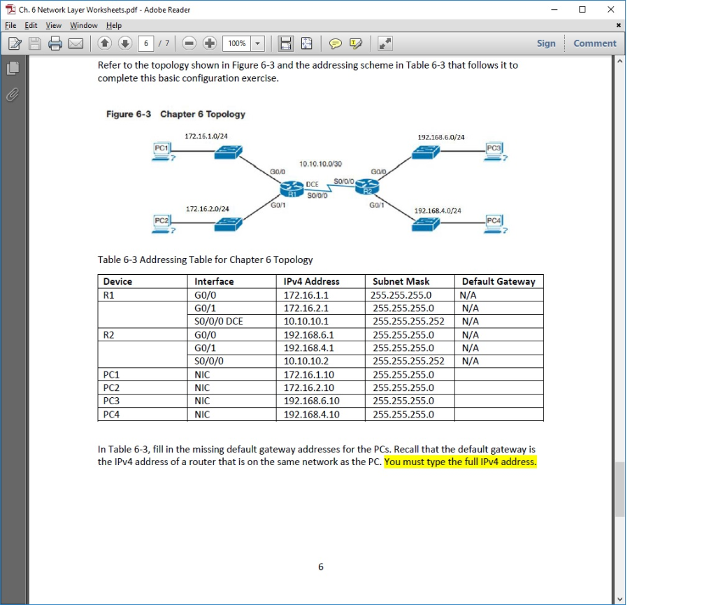 Solved: Ch  6 Network Layer Worksheets pdf - Adobe Reader