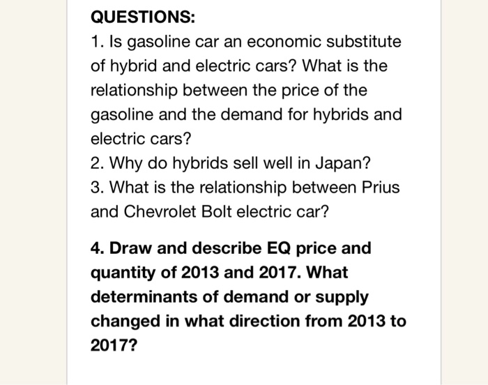 Is Gasoline Car An Economic Subsute Of Hybrid And Electric Cars