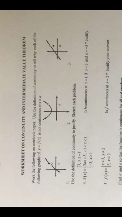 Solved: WORKSHEET ON CONTINUITY AND INTERMEDIATE VALUE THE ...