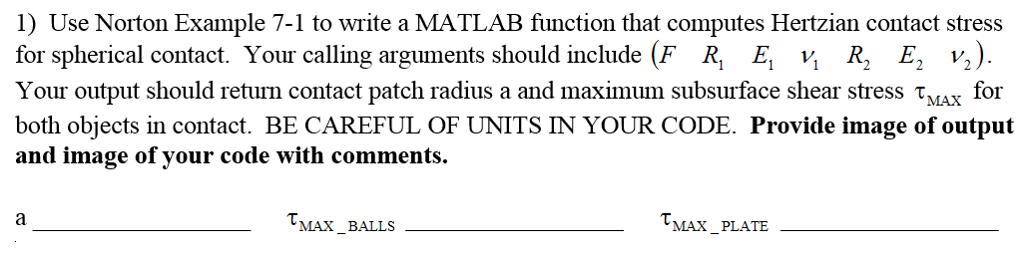 Solved: 1) Use Norton Example 7-1 To Write A MATLAB Functi