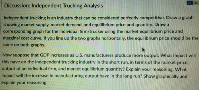 Solved: Discussion: Independent Trucking Analysis Independ