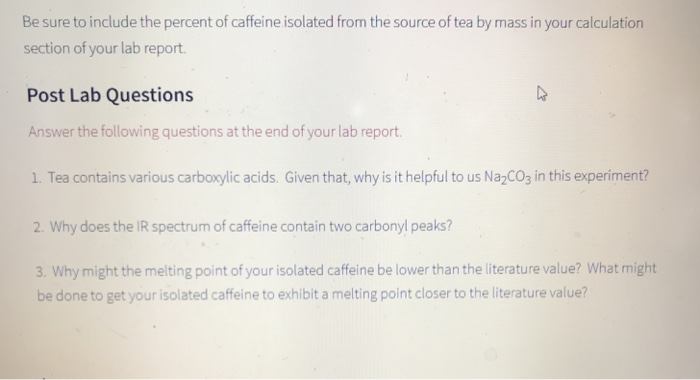 isolation of caffeine from tea lab report